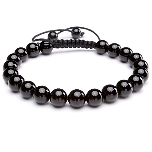 JOVIVI 8MM Black Agate Birthstone Gemstones Healing Power Crystal Macrame Adjustable Beaded Bracelet, Unisex (Black Bead Mens Bracelet)