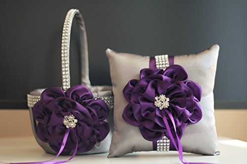 Gray Plum Ring Bearer Pillow & Wedding Flower Girl Basket Set | Alex Emotions | Big Flower Collection]()