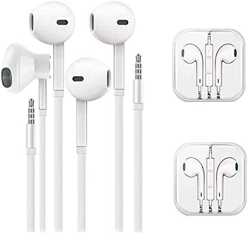 QX HeadphonesMicrophonein-Ear Wired Earbuds EarphonesCompatible AppleiPhone 6s/6 Plus/5s/5c/5/4s/SE/7 안드로이드 All 3.5mm Devices[2 Pack ]