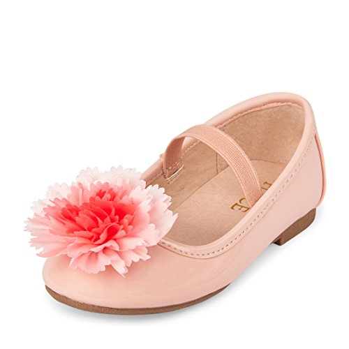 The Children's Place Girls' TG Poof Kayla Ballet Flat, Pink, TDDLR 9 Toddler US Toddler (Best Place For Toddler Shoes)