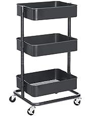 SONGMICS Wózek na kółkach z 3 poziomami, wózek do przechowywania, regał kuchenny z kółkami, półki z regulacją wysokości, wózek do serwowania z 2 hamulcami, łatwy montaż, do łazienki, kuchni, biura, szary BSC60GS
