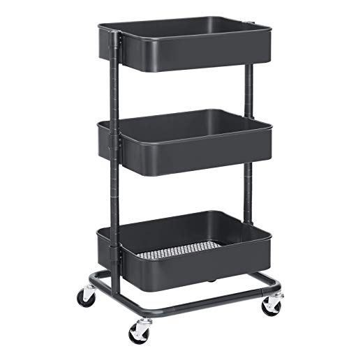SONGMICS 3-Tier Metal Rolling Cart, Utility Cart, Kitchen Cart with Adjustable Shelves, Storage Trolley with 2 Brakes, Easy Assembly, for Kitchen, Bathroom, Gray UBSC60GS