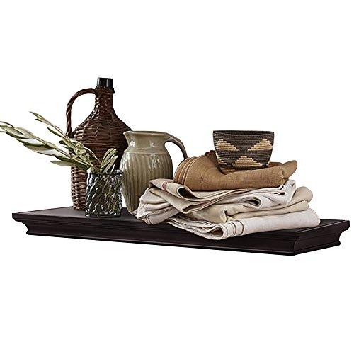 """AHDECOR Floating Shelves Wall Mounted, Deeper Wall Storage Shelf for Home Décor, Super Sturdy, Easy to Install, Espresso Brown, 24"""" Wide, 7.75"""" Deep"""