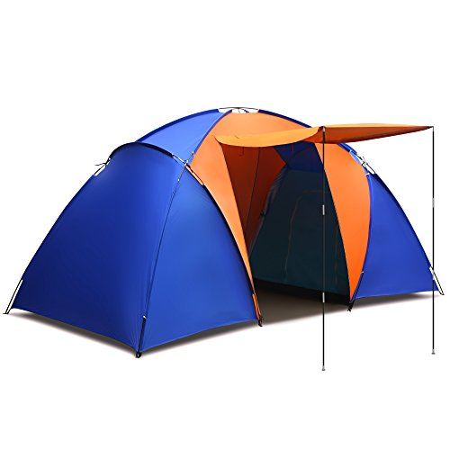 Portable Waterproof Splicing Color Tent For Family Camping, Two Rooms One Hall Put-Up Tent with Carry Bag