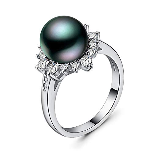 Kintaz Women's Engagement Gorgeous and Generous Creative Flower Diamond Magic Pearl Ring Jewelry (10, Silver) (Display Female Hanger)