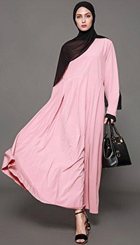 Ababalaya Women's Elegant Modest Muslim Full Length O-Neck Solid Pleated Runway Abaya S-4XL,Pink,Tag Size L = US Size 10-12 by Ababalaya (Image #3)