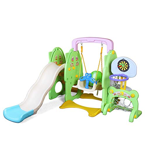 Slide Swing Set Toddler Climber with Music and Basketball Hoop Playset for Both Indoors Backyard,Green by Thole (Image #7)