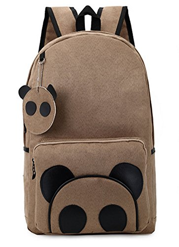 Buenocn Panda Canvas Backpack Schoolbag for Students Travel Bag for Men & Women Shy289 (camel)