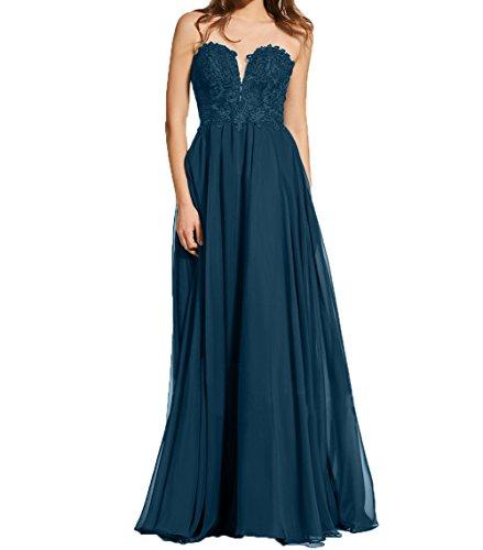 Partykleider Herzausschnitt Abendkleider Spitze Blau Charmant Dunkel Abschlussballkleider Promkleider Damen Schwarz XZqwnHgR