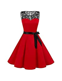 BOLUOYI Women Sleeveless Solid Lace Hepburn Vintage Swing High-Waist Pleated Dress