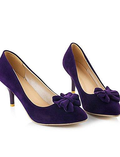 GGX/ Damen-High Heels-Büro / Kleid / Lässig-Samt-Stöckelabsatz-Absätze / Pumps / Spitzschuh-Blau / Lila blue-us7.5 / eu38 / uk5.5 / cn38