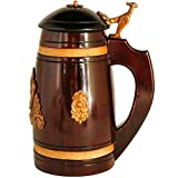 Medieval German style Mini Beer Stein with Lid 14 oz. Renaissance Oktoberfest Wooden Mug for Men. Old Times Small Coffee Drinking Cup. Authentic Wood Tankard with Handle. Fathers Day, Birthday Gift