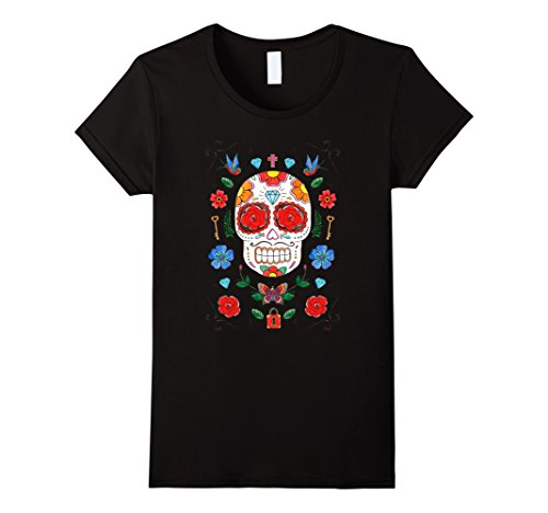 Dio De Los Muertos Costume (Womens Day of the Dead Traditional flash Sugar Skull T-shirt Medium Black)