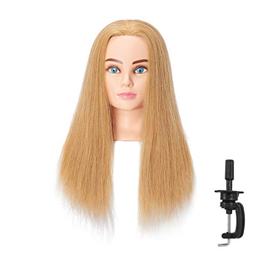 Hairingrid Mannequin Head 24-26100% Human Hair Hairdresser Cosmetology Mannequin Manikin Training Head Hair and Free Clamp Holder (R71906W2718H)