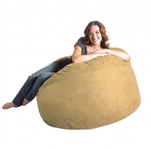 SLACKER sack 4-Feet Suede Microsuede Beanbag Chair, Light Brown by SLACKER sack