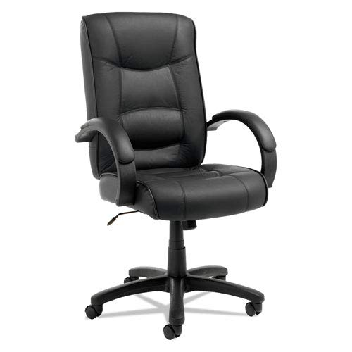 Alera® - Strada Series High-Back Swivel/Tilt Chair, Black Leather Upholstery - Sold As 1 Each - Tailored seat and back with top-grain leather - Strada Series Alera