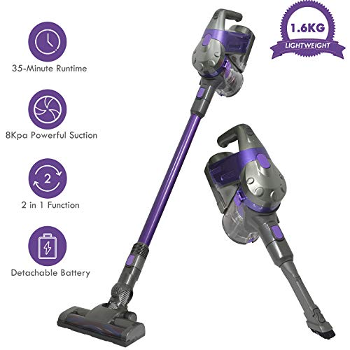SU-VAC Cordless Stick Vacuum Cleaner, 2 in 1 Stick&Handheld Bagless Lightweight Vacuum,8Kpa Powerful Suction for Pet Hair/Carpet/Hard Floor/Car with Rechargeable Li-ion Battery&Wall Mount