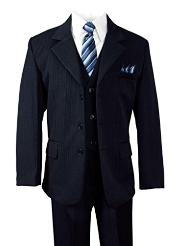 Navy Blue Gray Pinstripe (Big Boys' Polished Pinstripe Suit with Coordinated Tie & Handkercheif navy size 16)