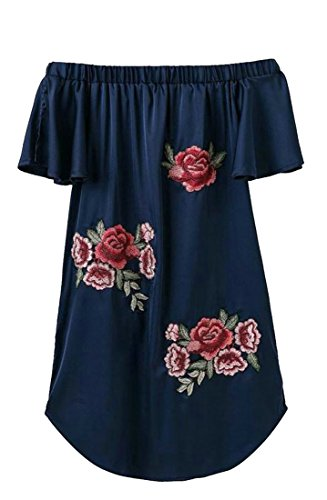 08697a94a5d3 Designer Dress   Designer Dress Shoes Cromoncent Womens Sexy Off Shoulder  Stylish Embroidery Mini Dress Navy Blue