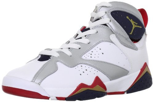 Youth Nike Air Jordan 7 Retro (GS) White / Metallic Gold / Obsidian / Turf Red 304774-135 Size 7 by NIKE
