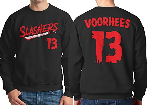 HAASE UNLIMITED Men's Slashers Voorhees 13 Jersey Crewneck Sweatshirt (Black, Large)]()