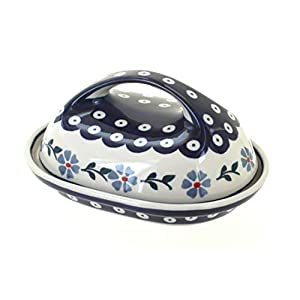 Blue Rose Polish Pottery Blue Violet Butter Dish