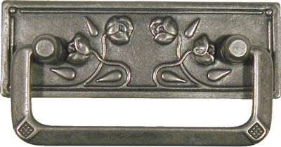 Art Deco ~ Antique Brass ~ Cup BIN PULL ~ CABINET DRAWER HANDLE