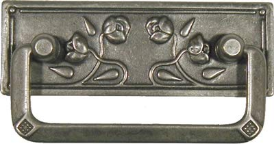 Art Nouveau Roses Stamped Brass Drawer Pull Handle Centers: 2-1/2