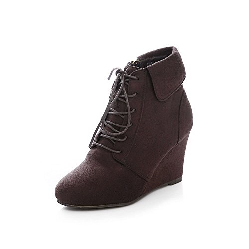 Heels Brown Low Womens Boots Solid Round Imitated AmoonyFashion Closed Suede Toe High Top n0fpA7px