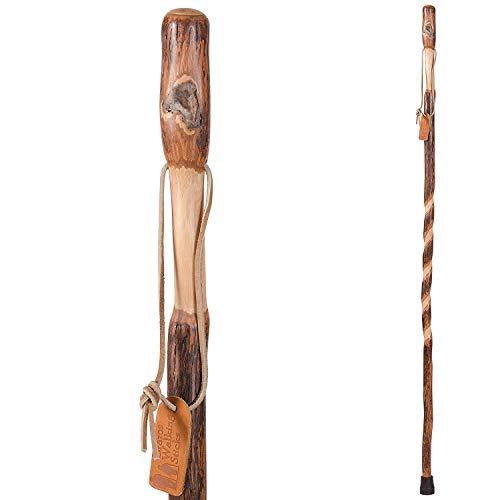 Trekking Pole Hiking Stick for Men and Women Handcrafted of Lightweight Wood and made in the USA,  Hickory,  48 Inches (Palos De Trekking)