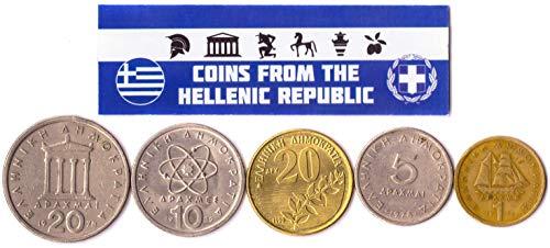 Hobby of Kings Different Coins - Old, Collectible Greek Foreign Currency for Collecting Book - Unique, Commemorative World Money Sets - Gifts for Collectors - Collection of 5
