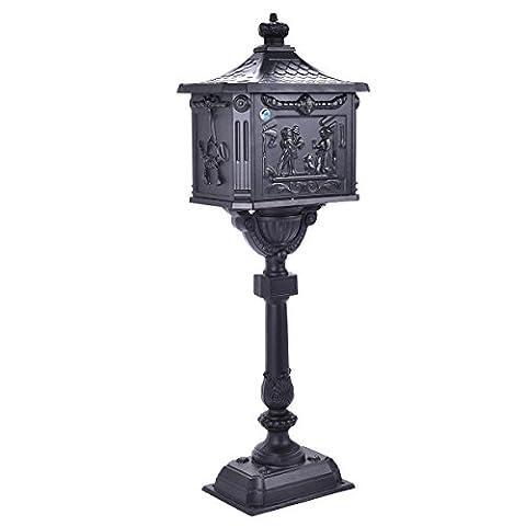 NEW Mail Box Heavy Duty Mailbox Postal Box Security Cast Aluminum Vertical Pedestal (Black)