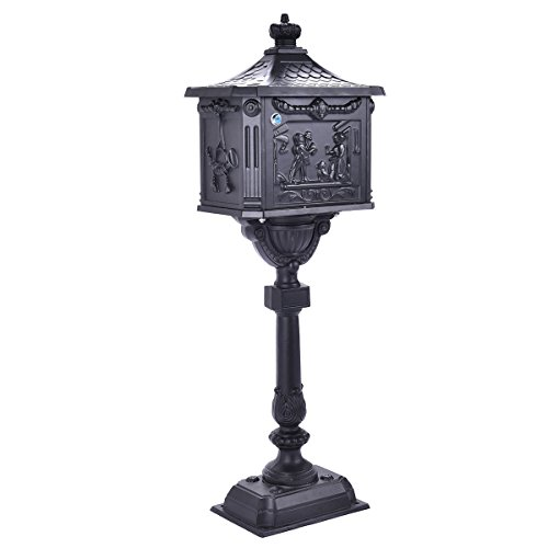 (Giantex Cast Aluminum Mailbox Heavy Duty Postal Box Security Aluminum Post/Pedestal Cast Mailbox, Black)