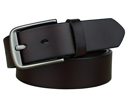Bullko Men's Casual Genuine Leather Dress Belt Jeans Classic Dark Brown 32-34 (Denim Leather Belt)
