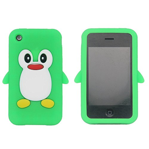 Tsmine Penguin Cartoon Case for Apple iPhone 3G, 3GS - Cute 3D Penguin Soft Silicone Back Washable -