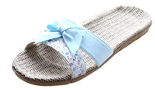 Blubi Womens Bowknot Open Toe Flax Summer Slippers Light House Slippers Blue EezCb