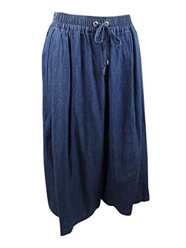 (DKNY $99 Womens New 1222 Blue Pleated Below The Knee A-Line Skirt L)