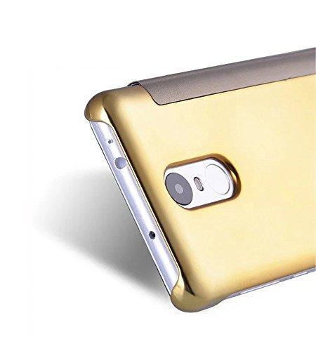 Funda Xiaomi Note 2,Grandcaser Xiaomi Note 2 Slim [especular a] Funda Clear Choque Absorción Flip Cover Carcasas para Xiaomi Mi Note 2 (2016) - Plata Oro