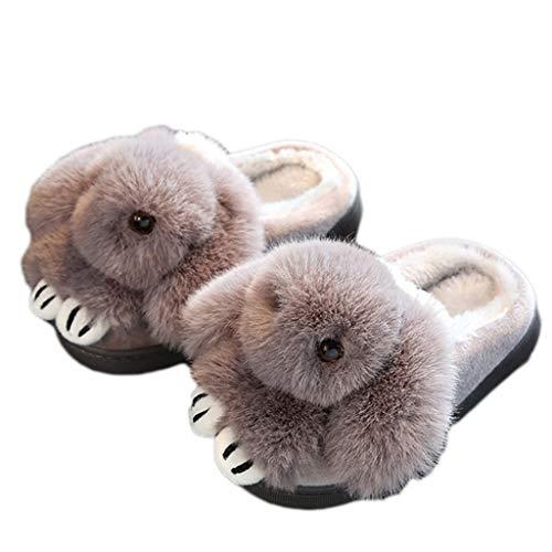 Rutschfeste Confinement AMINSHAP Kaninchen Hausschuhe Mit Dickes Schöne Modelle Paket Gray Weibliche Haus Warme Cartoon Plüsch Unterseite Liebhaber Baumwolle Hausschuhe Pantoffeln Innen PnTdqWHP