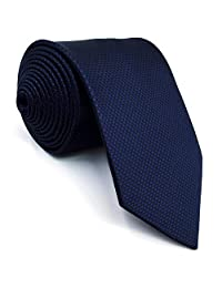 Shlax&Wing Neckties Solid Blue Navy Silk Ties for Men Silk Navy