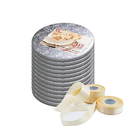 Cake Drums Round 8 Inches - Sturdy 1/2 Inch Thick - Professional Smooth Straight Edges - FREE Satin Cake Ribbon (Silver, 12-Pack)