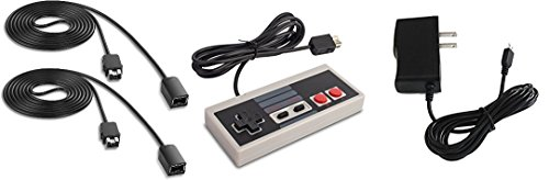 Accessory Kit for NES Classic Edition with Controller, 2 Controller Extension Cables, Power Adapter