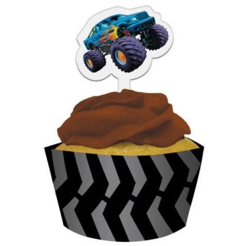 Mudslinger Monster Truck Cupcake Wrappers w/Picks 12 Pack by Creative Converting