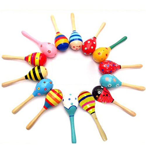 [Wooden Baby Rattle toys for baby 0-12 months Sand hammer for Listening Practice Musical toy for Educational] (4 H Costume Class Ideas)
