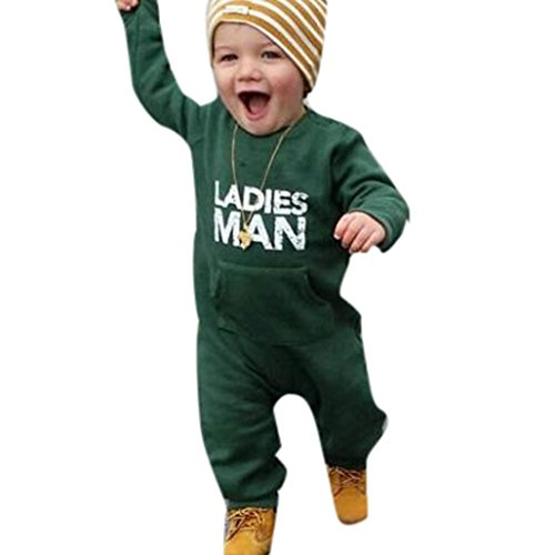 FEITONG Toddler Baby Boys Letter Soft Boys Outfits Clothes Romper Jumpsuit (24Month, Green) -