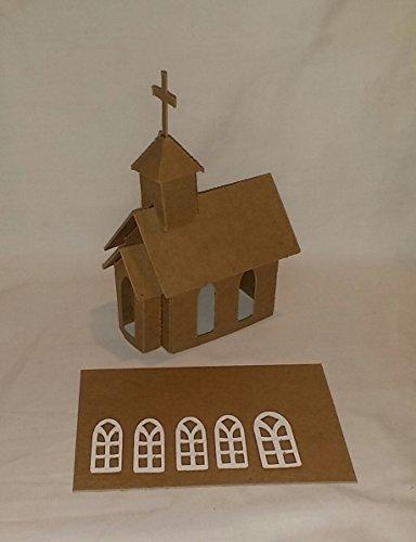 Putz Style Little Village Cardboard Church with Flicker Light Hole