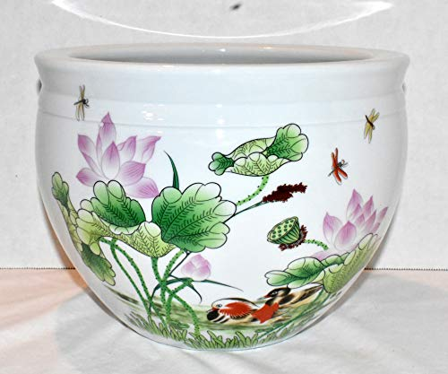 """New 10"""" Oriental Birds Swimming in Lily Pad & Lotus Flowers with Colorful Dragonflies Themed White Fish Bowl Jardiniere Planter Plant Pot"""