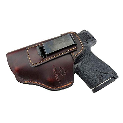 Relentless Tactical The Defender Leather IWB Holster - Made in USA - for S&W M&P Shield - Glock 17 19 22 23 32 33 / Springfield XD & XDS/Plus All Similar Sized Handguns - Brown - Left Handed