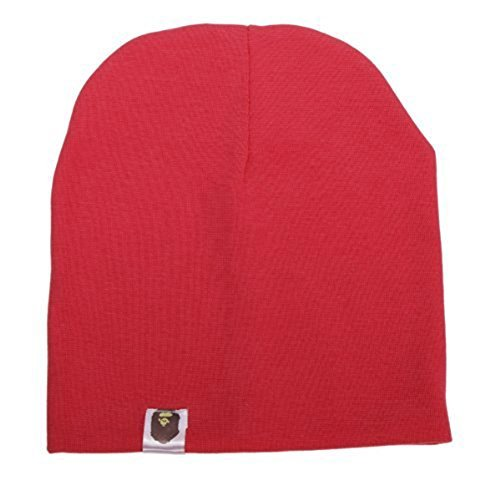Red Beanie Kids (Unisex Cotton Beanie Hat for Cute Baby Boy/Girl Soft Toddler Infant Cap 21 Color)