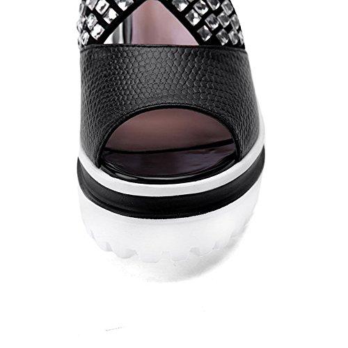 Amoonyfashion Kvinna Mjukt Material Peep Toe Kattunge-klackar Zipper Fasta Sandaler Svarta